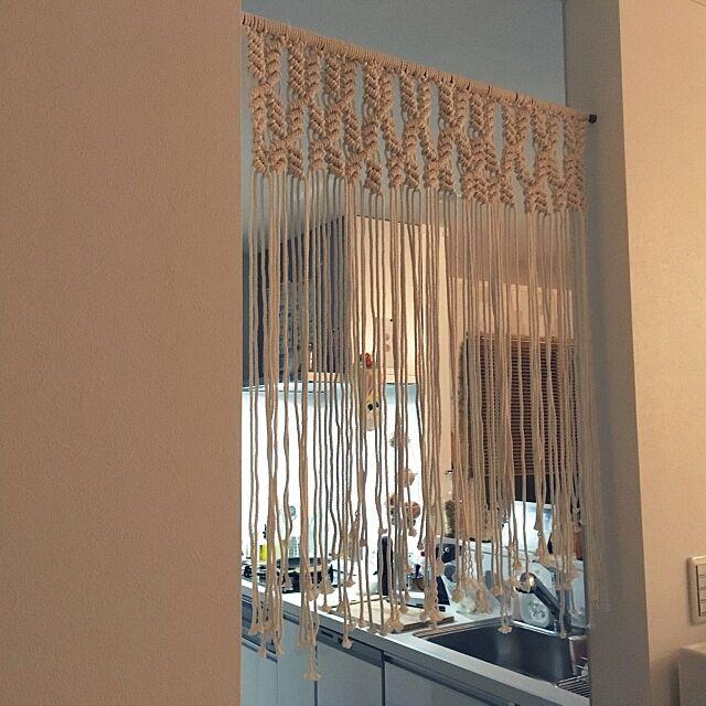 Kitchen,のれん,建売を自分好みに♡,手作り,マクラメ編み,カメラマーク付きまくりです。,建売り改造,100均一リメイク mamechanの部屋