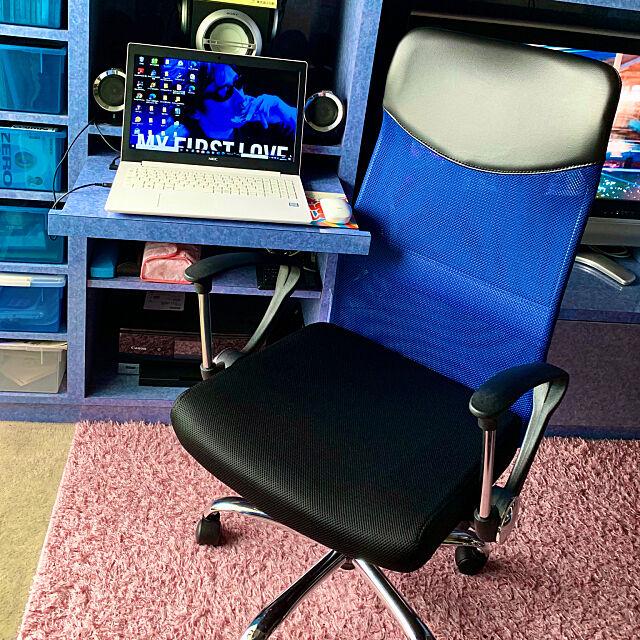 青が好き,NECパソコン,SONY,PCスピーカー,メッシュの椅子,ブルー,書斎,stay home,テレワークスペース,夏の模様替え tsurumokuの部屋