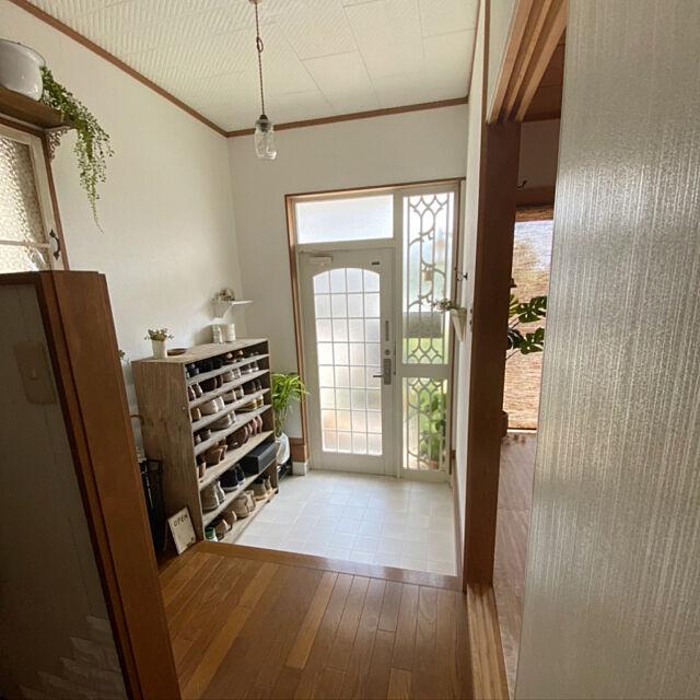 グリーン,ペンダントライト,下駄箱DIY,ローカから,Entrance,古い家 rookuの部屋