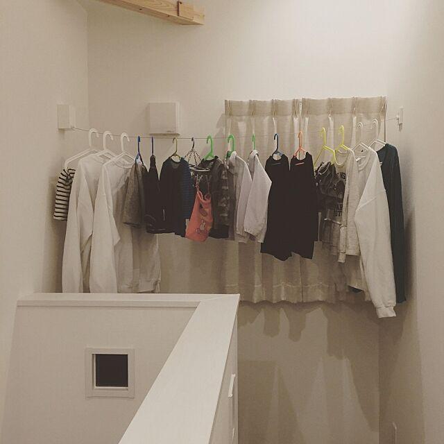 Overview,室内干し,Pid4M,洗濯物,勾配天井,2階,マイホーム,真っ白,ハンガー,IKEA naminkoの部屋
