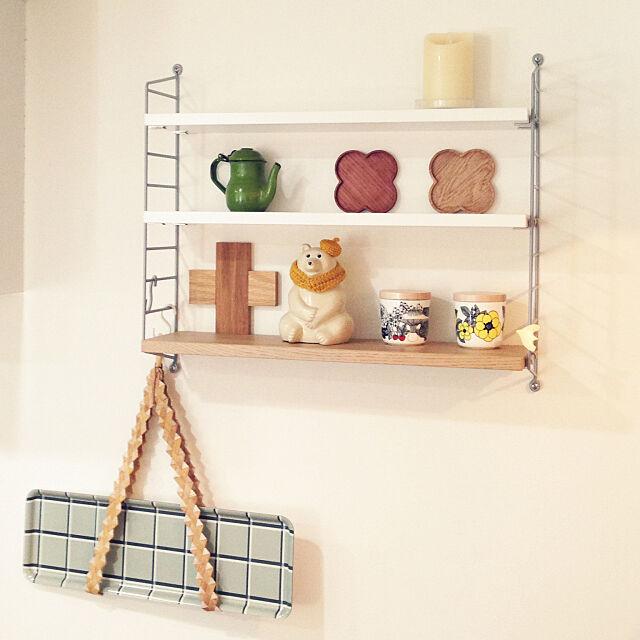 My Shelf,scope version.R,北欧,IKEA,白樺トレイハンガー,ルミナラ,ストリングポケット,marimekko,HAY,しろくま貯金箱,ラッセントレー,Yarn yukieの部屋
