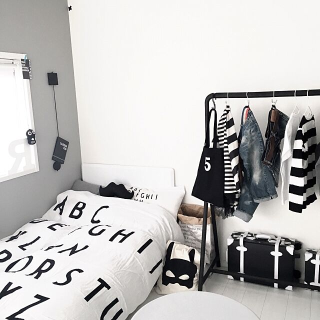 Bedroom,見せる収納,IKEA,子供部屋,白黒,暮らし,モノトーン,北欧,白黒マニア,DESIGNLETTERS,デザインレターズ,ニトリ,収納 Queenbeeの部屋
