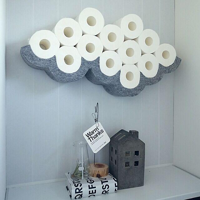 ハンドメイド,北欧,モノトーン,グレー,トイレットペーパー収納,パンチカーペット,くも,Bathroom mi-の部屋