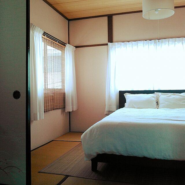 Bedroom,日本家屋,築40年以上,昭和,和室,シンプル,竹ラグ,すだれ amelliaの部屋