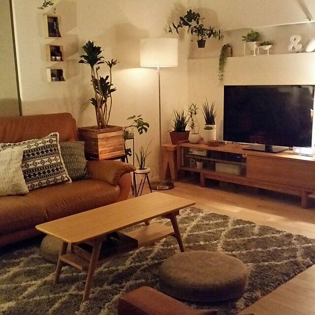 Lounge,くつろぎ空間,グリーンのある暮らし,観葉植物,IKEA,ニトリ,手作り,DIY,間接照明,フロアランプ,グリーンインテリア,テレビ周り,ラグ chieの部屋