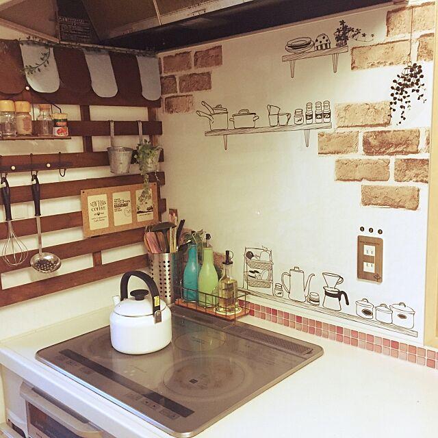 Kitchen,ウォールステッカー,セリア,リメイクシート chihiroの部屋