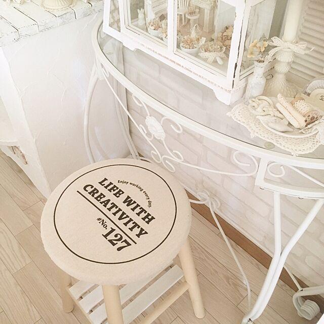 My Desk,丸椅子カバー,リピート品,白いインテリア,ブログも見てくれたら嬉しいです,セリア♡ satomiの部屋