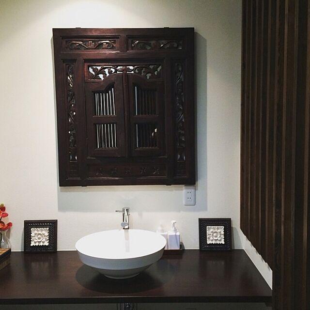 Bathroom,アジアンテイスト,こどもと暮らす,モダン アジアン リゾート,アンティーク,無印良品,ホテルライク,洗面台,バリ風,リゾート,カフェ風,モダン,木材 hattanの部屋