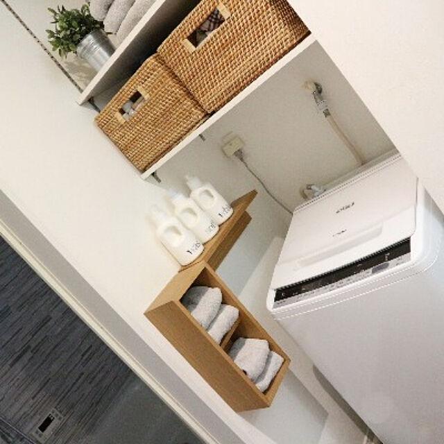 壁面収納,Bathroom,無印良品,収納,ナチュラルインテリア,IKEA,シンプルな暮らし,洗濯機,洗濯機周り,シンプルインテリア,バスルーム neruの部屋