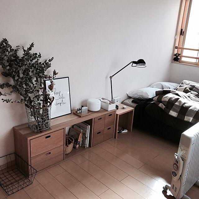 Bedroom,賃貸,ユーカリ,ユーカリドライ,無印良品,シンプルインテリア,シンプルな暮らし,PUEBCO coroの部屋