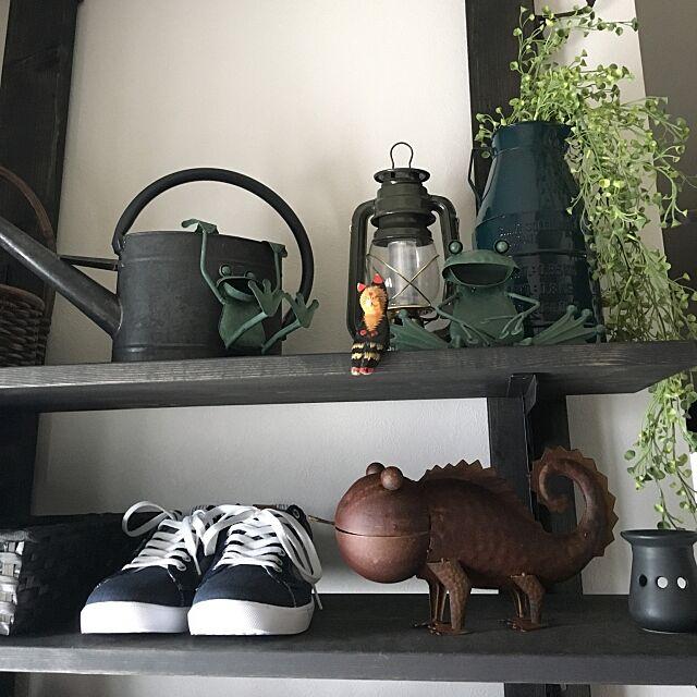 Entrance,ディアウォール棚No.3,ブリキ雑貨,賃貸戸建でも楽しく♪,アジアンテイスト,黒×茶,ウッド×アイアン,グリーン同盟❤,FELISSIMO cocotaiの部屋