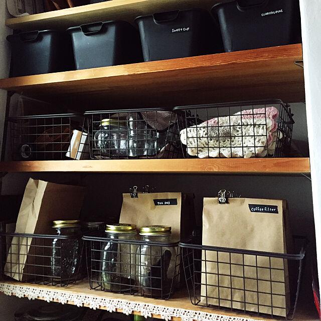Kitchen,ニトリのワイヤーバスケット,編み物,袋収納,クラフト袋,ダイソー,すっきり暮らしたい,小物収納,キャンドゥ muの部屋