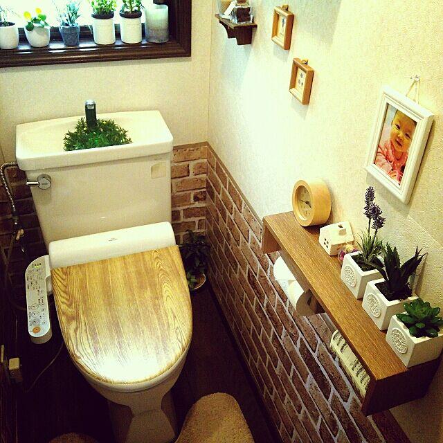 Bathroom,レンガ風,インテリアシート,リメイクシート,セリア,ニトリ,フェイクグリーン,3COINS,フェイク多肉,トイレ,便座 Sayuriの部屋