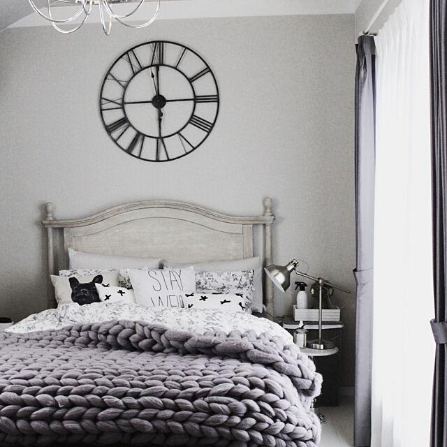 Bedroom,フレンチシック,チャンキーニット,chunky knit blanket,ベッド,ベッドルーム,インテリア雑貨,ホワイトインテリア,白黒グレー,モノトーンインテリア,チャンキーニットブランケット,インテリア大好き,寝室,グレー,ベッドカバー,ホワイト大好き,モノトーン,雑貨,マイホーム Ayumiの部屋