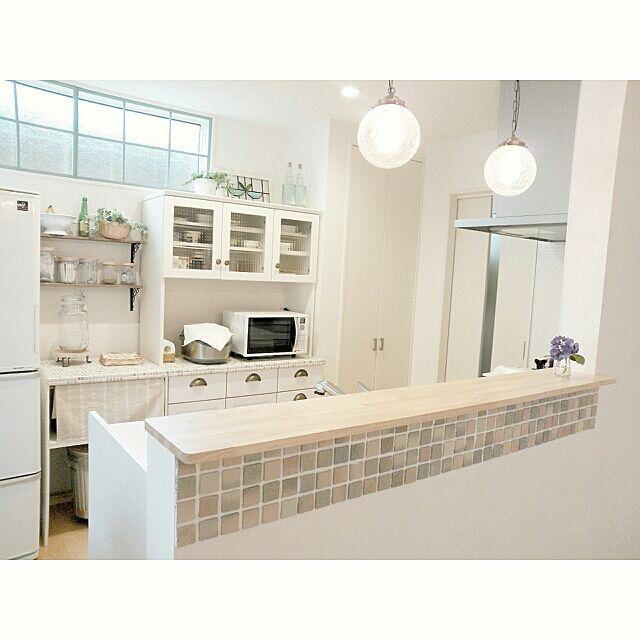 Kitchen,カフェ風,食器棚,タイル,タイル貼り,キッチンカウンター,DIY rankoの部屋