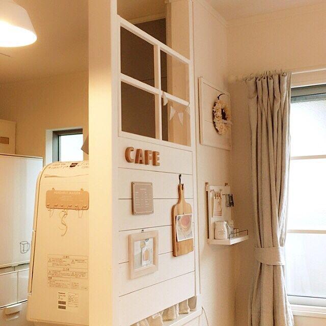 On Walls,キッチンカウンターの上,食洗機,ディアウォール DIY,窓枠DIY,カフェ風 pancake-cafeの部屋