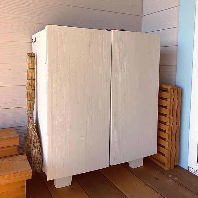 キャビネットDIY,りんご箱,ウッドデッキ,DIY,Re住む,平屋,リノベーション,My Shelf lemonadeの部屋