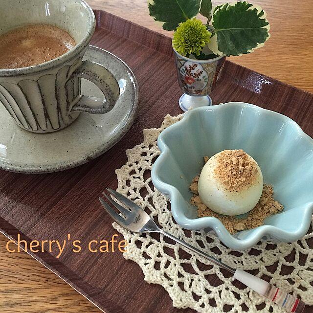 Kitchen,ちょい足しレシピ,丹波黒豆きな粉,丹波立杭焼コーヒーカップ,キャンドゥ小皿,ダイソートレー,手編みドイリー,雪見だいふく♪♪ cherryの部屋