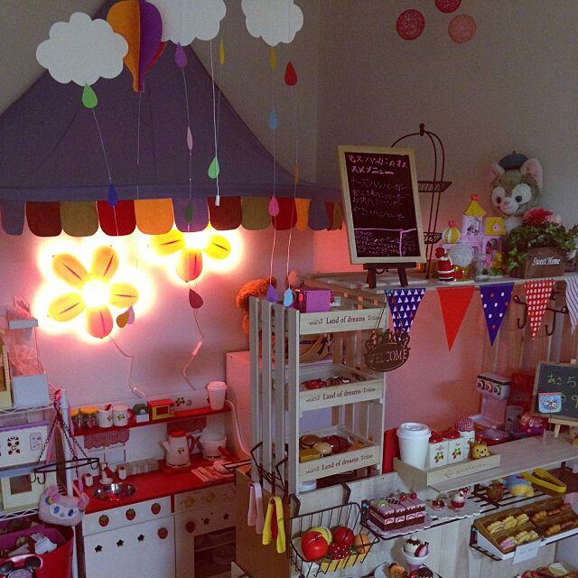 Overview,大好きな空間,キッズルーム,子供部屋女の子,DIY,100均,セリア,ダイソー,IKEA,照明,お店屋さんごっこ Ayumiの部屋