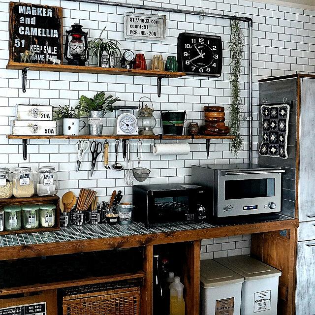 Kitchen,DIY,DIY女子,男前,インダストリアル,カフェ風,海外インテリア,セルフリノベーション,キッチンカウンター,キッチン収納,セリア,ダイソー,キッチン雑貨,バルミューダのキッチン,バルミューダ,オーブンレンジ,IG⇨maca_home,ブログよかったら見てみて下さい♩,バルミューダのある暮らし macaの部屋