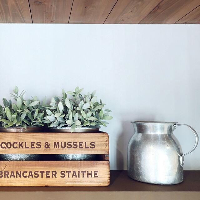 Kitchen,大掃除,フェイクグリーン,ブリキ鉢カバー,古木ボックス,ヴィンテージジャグ bluestoneの部屋