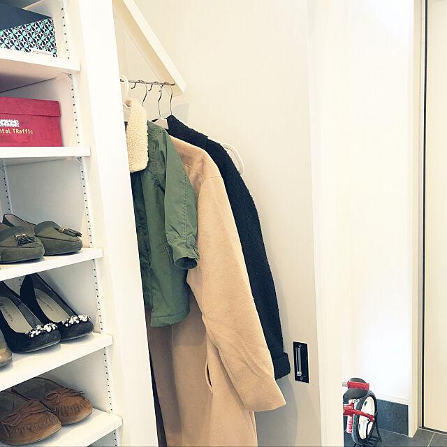 My Shelf,隙間収納,シューズクローゼット,コートハンガー,折り畳み式ハンガー,壁掛け式ハンガー,楽天で買ったもの shilohyの部屋