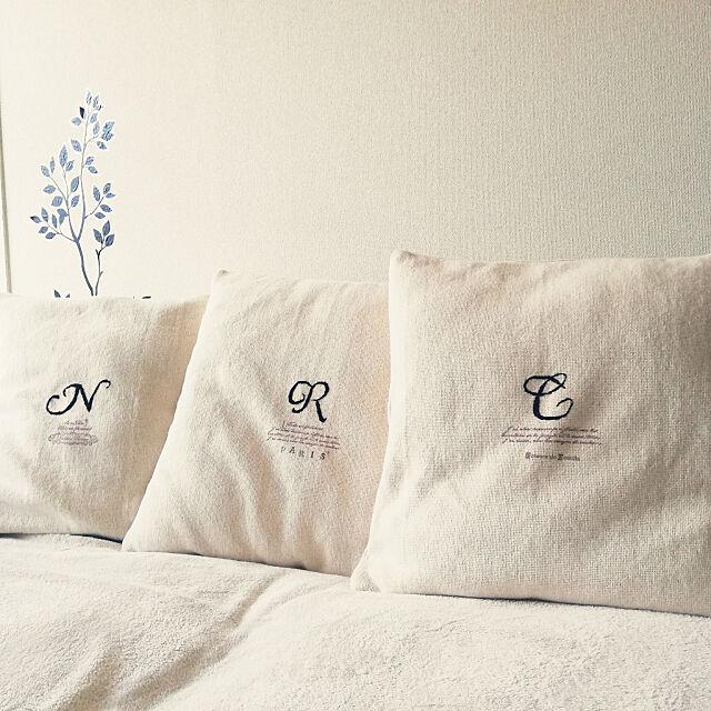 Lounge,賃貸アパート,賃貸,賃貸でも楽しく♪,リメイク,クッションカバー,無印良品,刺繍,クッション,東京アンティーク izurinaの部屋