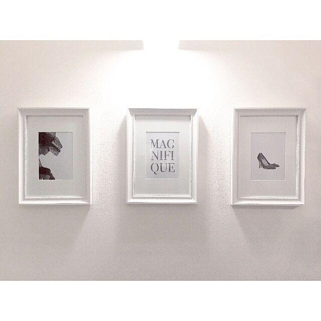 On Walls,アートフレーム,フォトフレーム,ホワイトインテリア,玄関,IKEA,モノトーン miyu.aizawaの部屋