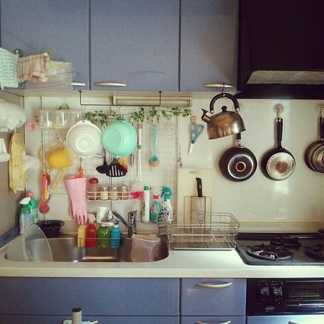 Kitchen,100均大好き,娘っちの作品,セリア,押し逃げばかりでごめんなさい,100均リメイク,ワイヤーネット,DIY,フェイクグリーン,ダイソー hamukoの部屋