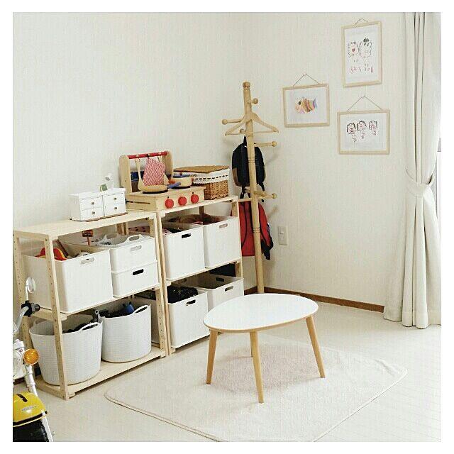 Overview,子供部屋,ダイソー,セリア,うつくしまナチュラル愛好会♡,ニトリ,おもちゃ収納,ウッドラック,ウッドシェルフ hiCaRiの部屋
