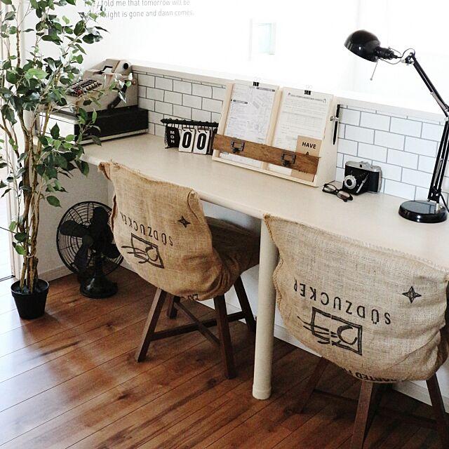 壁紙屋本舗さん,蛇腹カメラ,レジスター,古い扇風機,ニトリのフェイクグリーン,IKEA 照明,机 takimoto-manamiの部屋