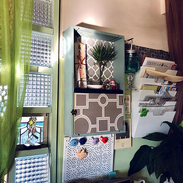 レターラック,御札置き,パーテーションDIY,ガラスブロック,ワイン木箱,IKEA,ステンドグラス,記録用です,On Walls cloverの部屋