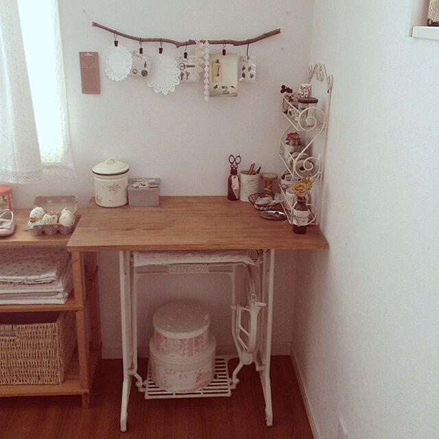 My Desk,DIY,ミシン脚,パソコンデスク chocolateの部屋