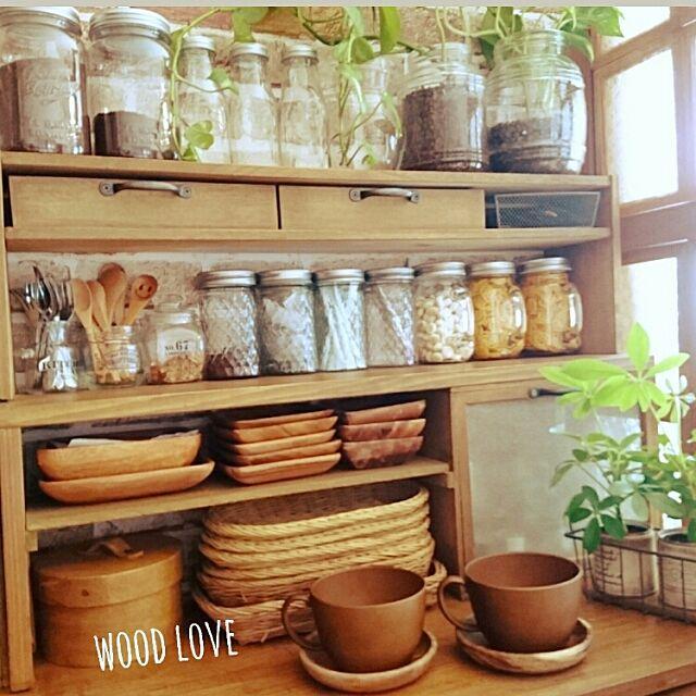 Kitchen,廃材DIY,アカシアの食器,木が好き,瓶が好き Akipoohの部屋