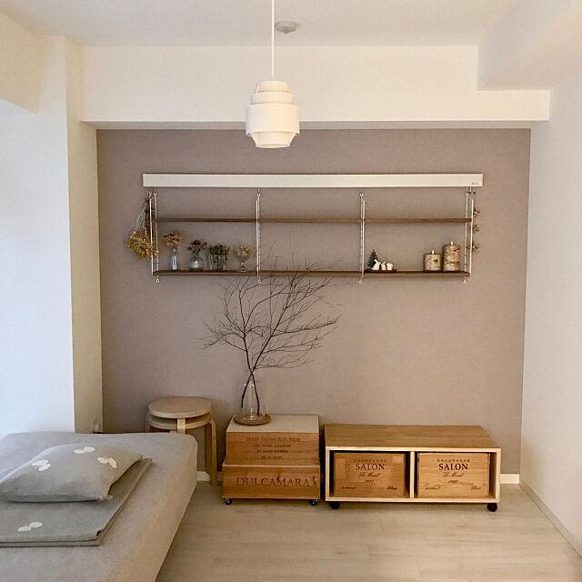 Bedroom,ベッドルーム,1R,一人暮らし,ストリングポケット,ヤコブソンランプ,ワイン木箱,DIY,RoomClip mag ngcemkkoの部屋