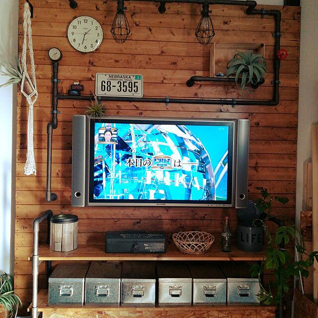 Bedroom,板壁DIY,壁掛けテレビ,無印トタンボックス,いなざうるす屋さん,男前,塩ビパイプDIY,インダストリアル,ラブリコ rikakoの部屋