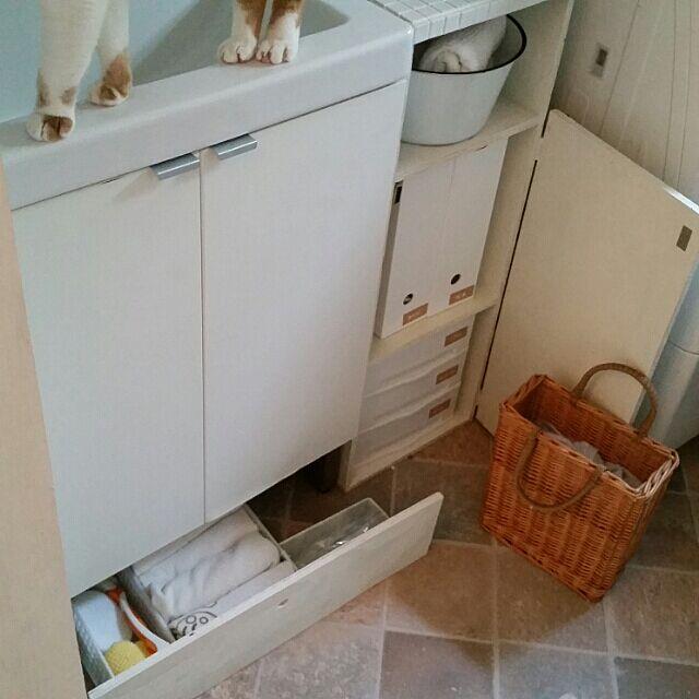 Bathroom,収納DIY ,隙間収納,クッションフロア貼り替え mikiの部屋