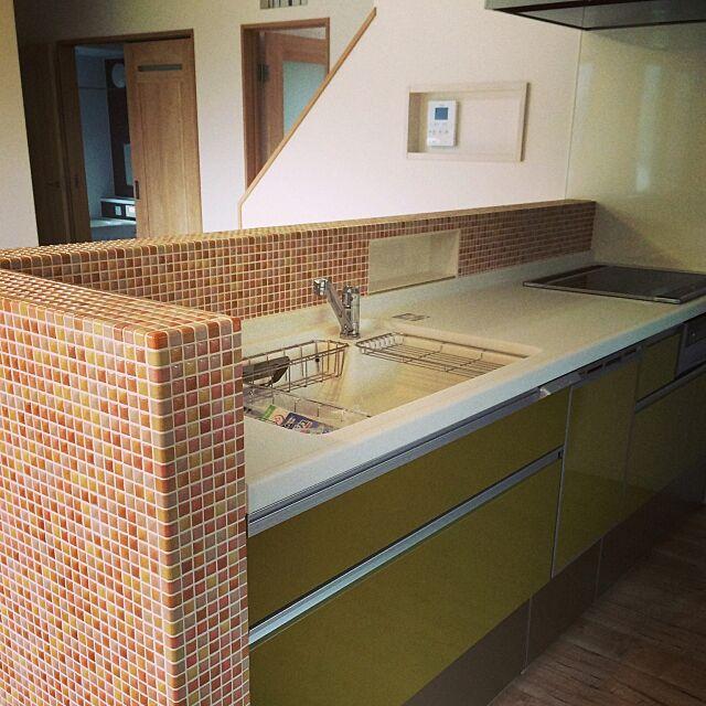 Kitchen,北欧,マイホーム,マイホーム建築中,マイホーム建ててます,レトロ大好き,モザイクタイル,タイル,キッチンタイル,ステンドグラス misomamの部屋