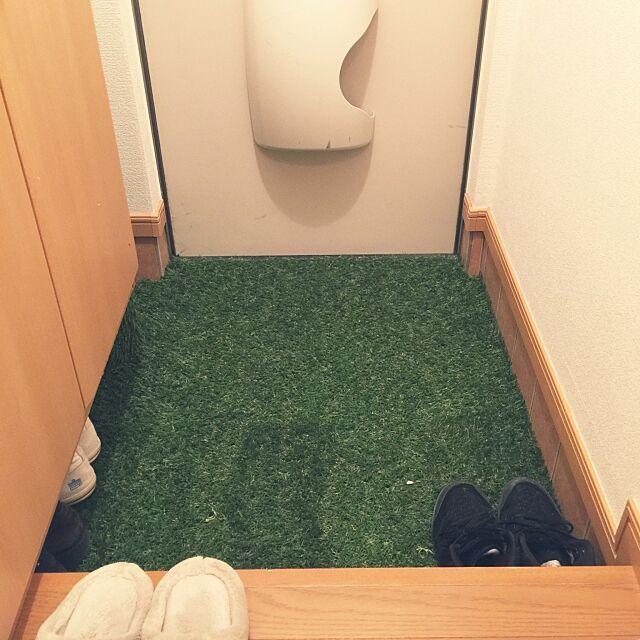 Entrance,人工芝,一人暮らし,ナチュラル,ハンドメイド,フェイクグリーン,無印良品 Kazuの部屋