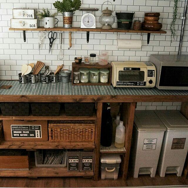 Kitchen,コメ返出来んかもしれないです┏○ペコッ,DIY,男前,カフェ風,インダストリアル,自作ラベル,セルフリノベーション,キッチンカウンターDIY,サブウェイタイル風壁紙,壁紙はりかえ,IG⇨maca_home,ブログよかったら見てみて下さい♩,壁紙屋本舗 macaの部屋