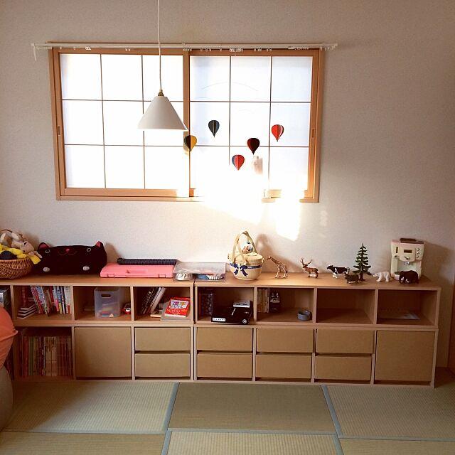Lounge,パルプボードボックス,IDEE 照明,モビール,無印良品 yukihouseの部屋