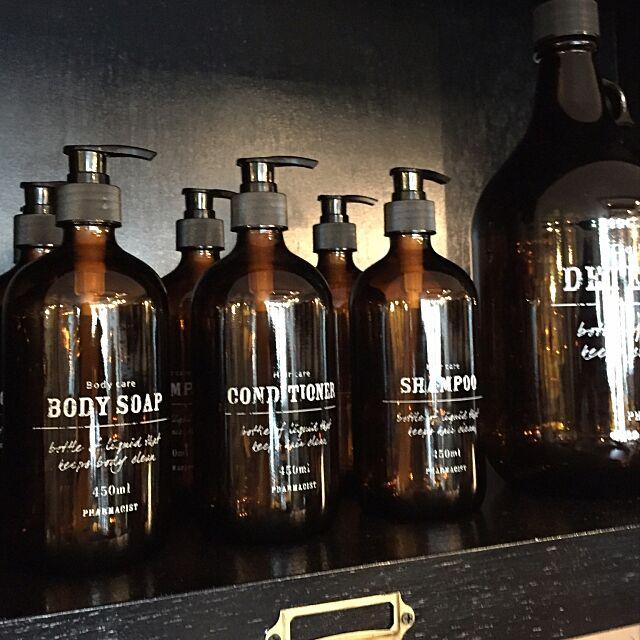 Bathroom,バスルーム,ガラス容器,柔軟剤ボトル,コンディショナー,ボディソープ,シャンプーボトル,詰め替えボトル,ソープディスペンサー,男前,ヴィンテージ,アンティーク,雑貨,インダストリアル,塩系 a-gleamの部屋