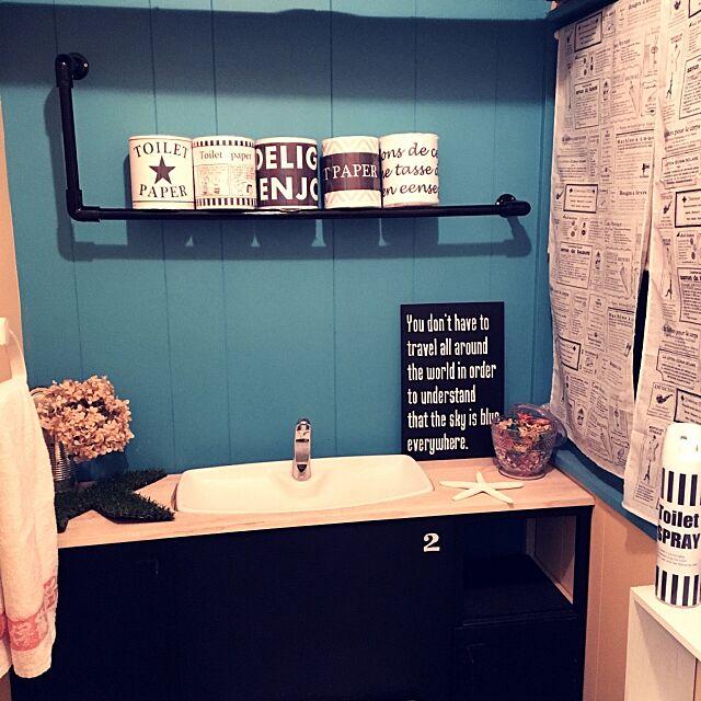 Bathroom,タンクレス DIY,ラベル,塩ビパイプ,黒板,ハンドメイド,セリア,ペイント miccoの部屋