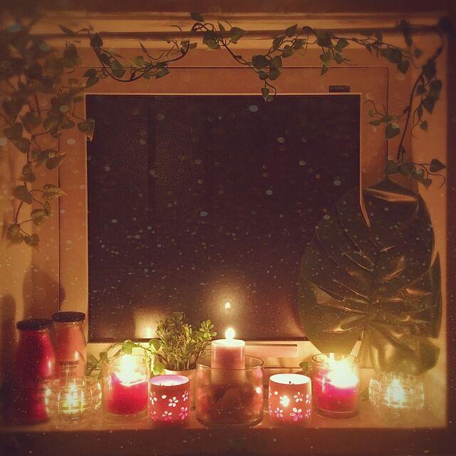 Bathroom,ピンク,ほっとする空間,温かみ,癒やしの空間,アロマキャンドル,キャンドルナイト,キャンドル,ダイソー,セリア,100均,観葉植物,ナチュラル,フェイクグリーン,雑貨 shocoの部屋