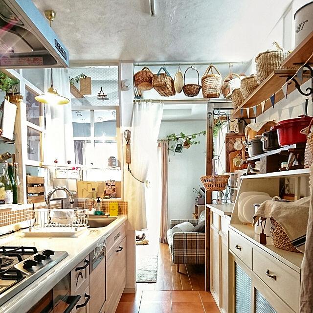 Kitchen,キッチン背面収納,WOODONEのキッチン,ハーマン プラスドゥ,unico,かごディスプレイ,カフェ風,ウッドガーランド,棚DIY,かご m-chocoの部屋