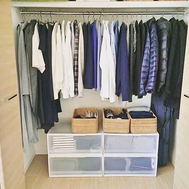 Bedroom,MAWAハンガー,持たない暮らし,私服の制服化,ミニマリストに憧れて,シンプルライフ,収納,衣類収納,重なるラタン長方形バスケット,ポリプロピレンケース,無印,無印良品,クローゼット,二人暮らし,1LDK,賃貸,シンプルインテリア,新居,シンプル ochaの部屋