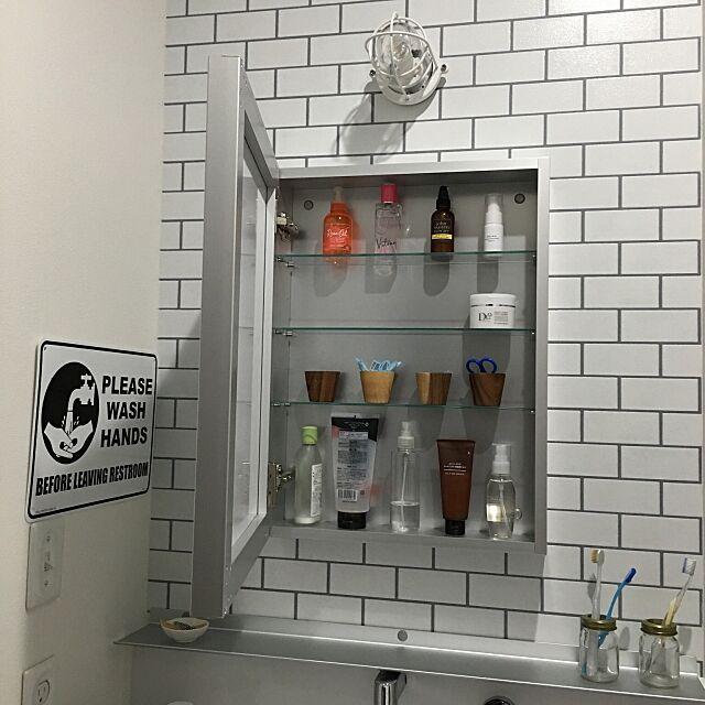 Bathroom,ミラーキャビネット,サンワカンパニー,マリンライト,西海岸風,洗面所,収納,beach house muuの部屋