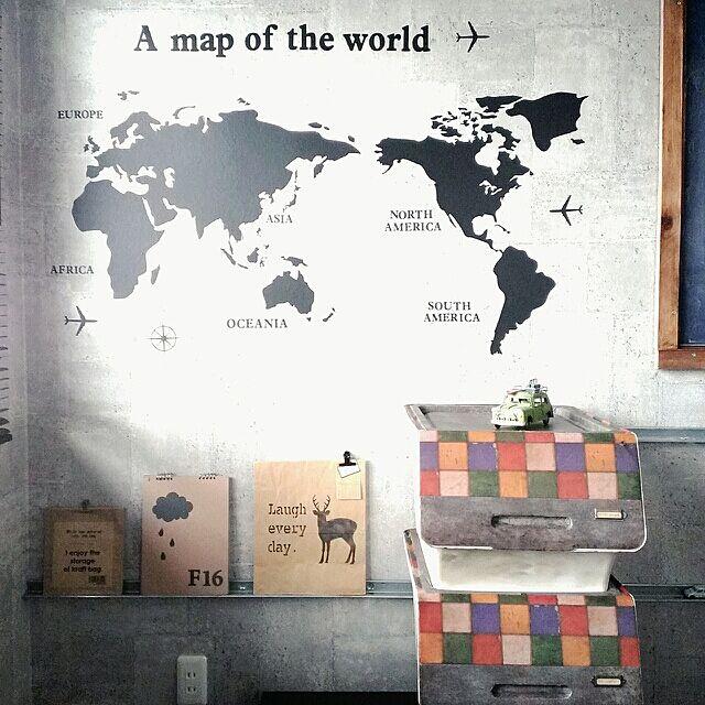 On Walls,squ+,子供部屋,froqリメイク,mtCASA錆×タイル・ヴィンテージ,世界地図,ブログ更新しました╰(*´︶`*)╯,インスタ→chocolate.cafe,squ+ウォールステッカー chocolate-cafeの部屋