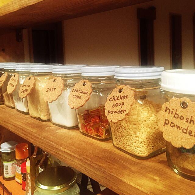 Kitchen,調味料ラベル,ハンダゴテ,コルクタグ,ダイソー amandaの部屋
