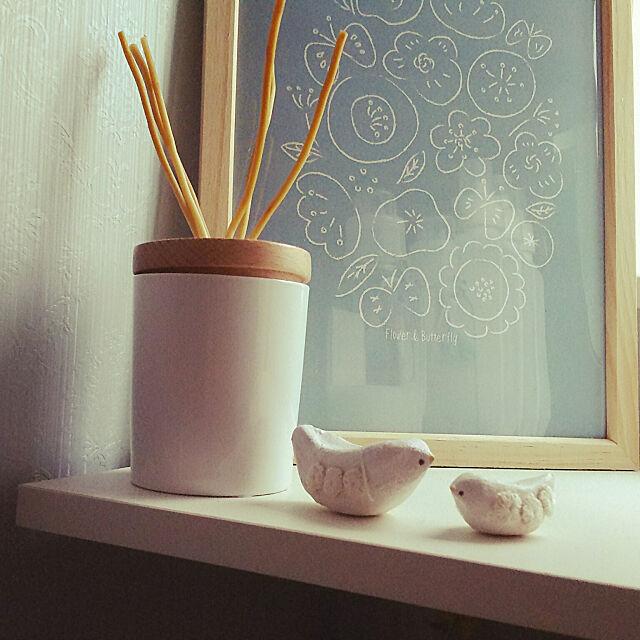 Bathroom,mayutanさんの作品,大人なナチュラルとりさん,ニトリアロマディフューザー,minneポスター ku-kaiの部屋